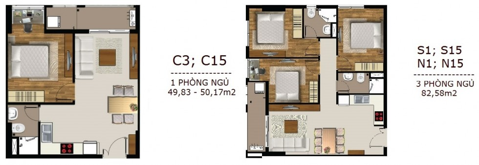 Mẫu thiết kế căn hộ 1 và 3 PN SaiGon Mia