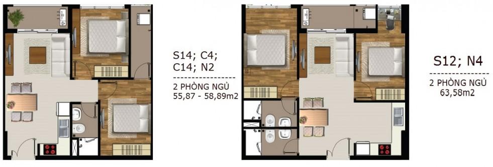 Mẫu thiết kế căn hộ 2 PN Sài Gòn Mia