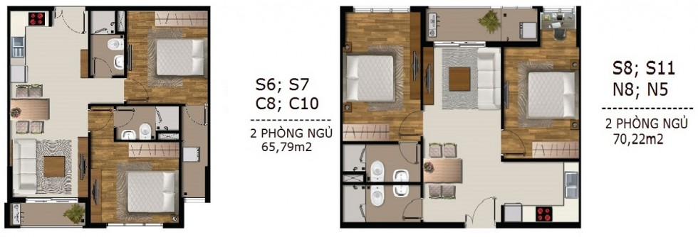 Mẫu thiết kế căn hộ 2 PN SaiGon Mia