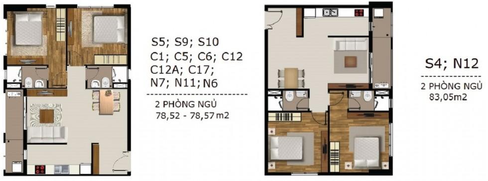 Mẫu thiết kế căn hộ 2 phòng ngủ Sài Gòn Mia