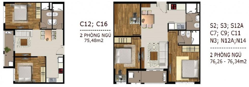 Mẫu thiết kế căn hộ 2 phong ngu Sài Gòn Mia