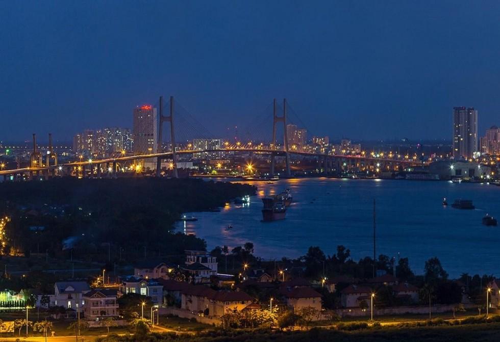 Hướng View Cầu Phú Mỹ về đêm