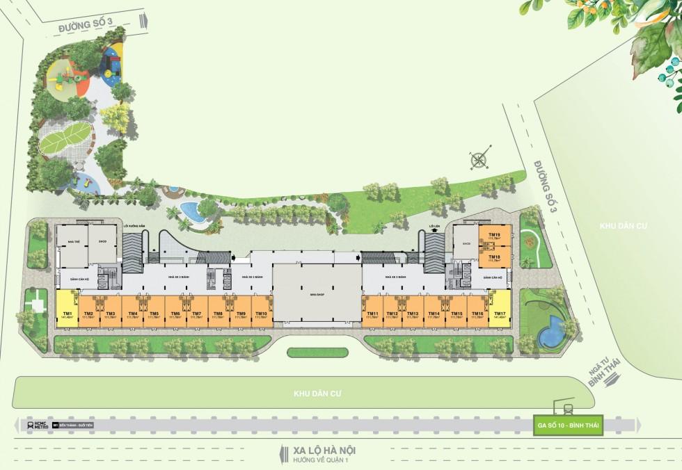 Mặt bằng tầng thương mại - Shophouse dự án Lavita Garden