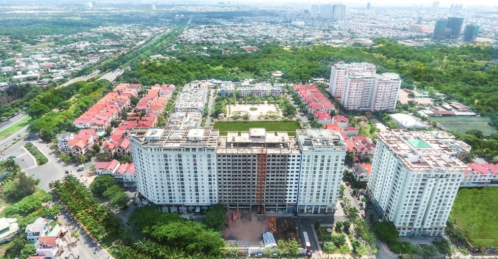 Hướng view về Quận Nguyên Văn Linh từ căn hộ Citizen.ts