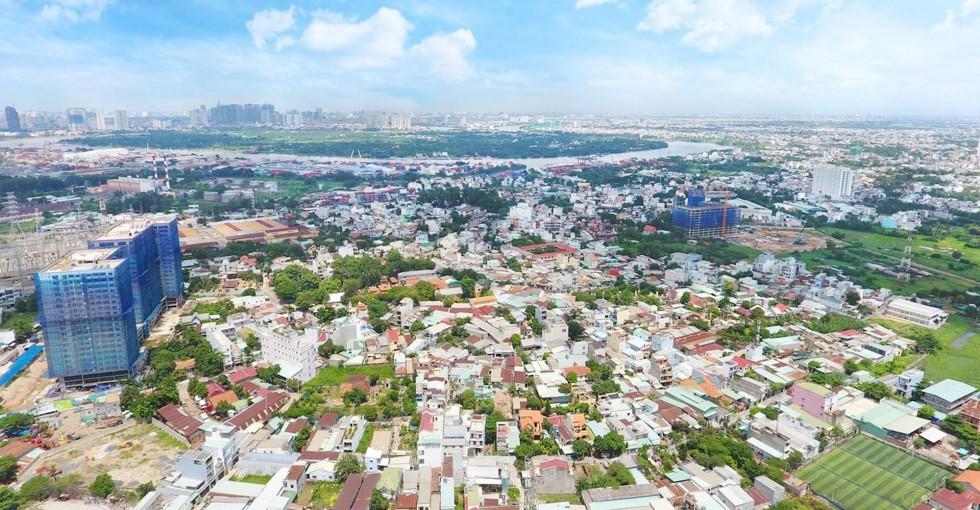 Hướng nhìn về Quận 1 và Sông Sài Gòn
