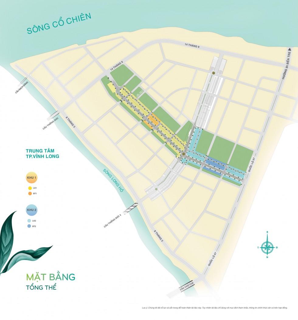 Mặt bằng phân lô Dự án Vĩnh Long New Town